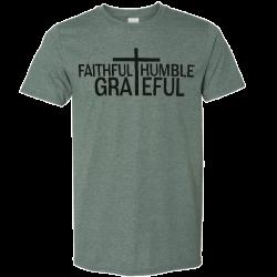 Josh Turner Heather Forest Green Tee- Faithful, Humble, Grateful